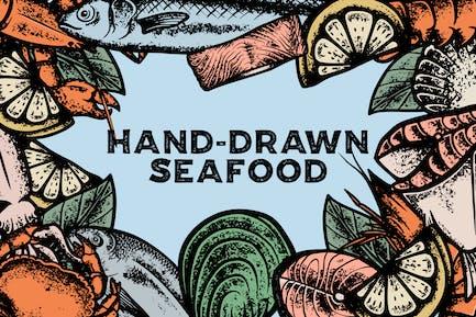 Handgezeichnete Meeresfrüchte