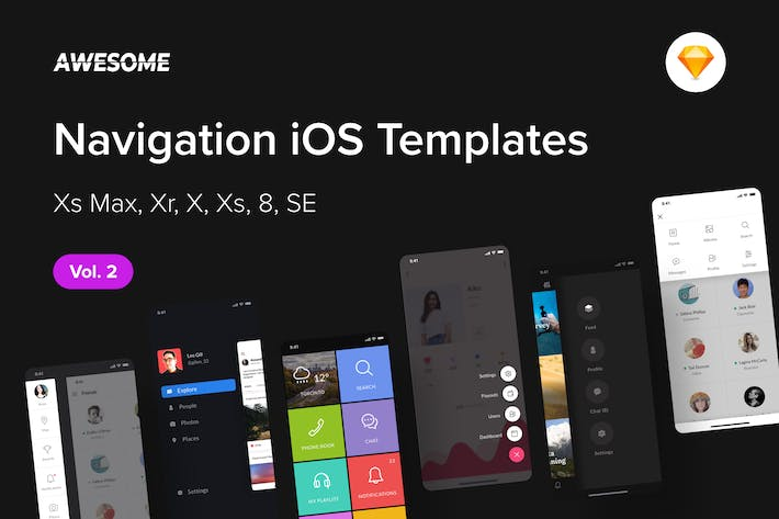 Thumbnail for Awesome iOS UI Kit - Navigation Vol. 2 (Sketch)