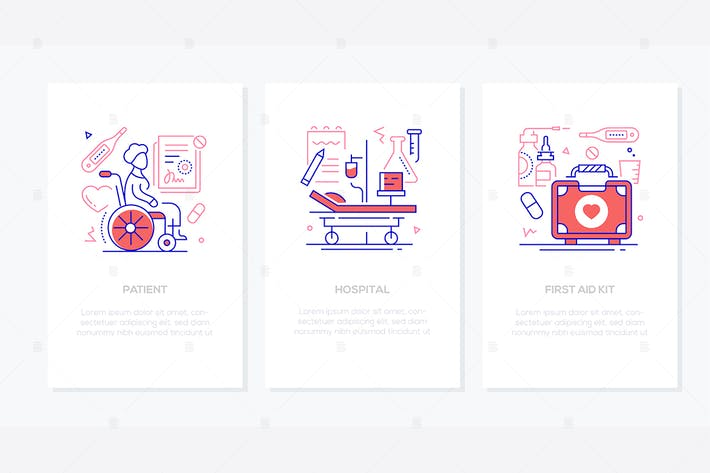 Medical clinic - line design style banners