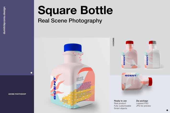 Cover Image For Square Plastic Bottle