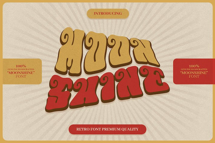 Thumbnail for Moonshine - Retro Psychedelic Font