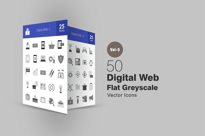 Thumbnail for 50 Digital Web Greyscale Icons