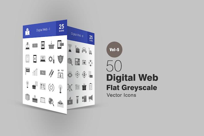 Thumbnail for 50 Íconos de escala de grises web Digital