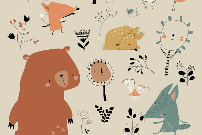 Thumbnail for Cartoon cute animals meeting autumn in the forest