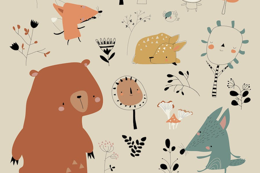 Cartoon cute animals meeting autumn in the forest