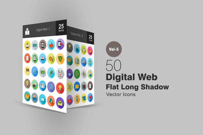 Cover Image For 50 Digital Web Flat Shadowed Icons