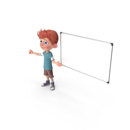 Cartoon Boy Charlie bei Präsentation
