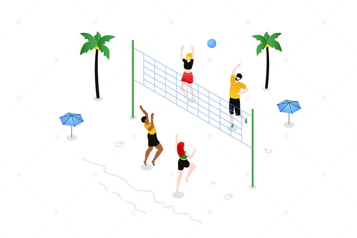 Thumbnail for Beach volleyball - colorful isometric illustration