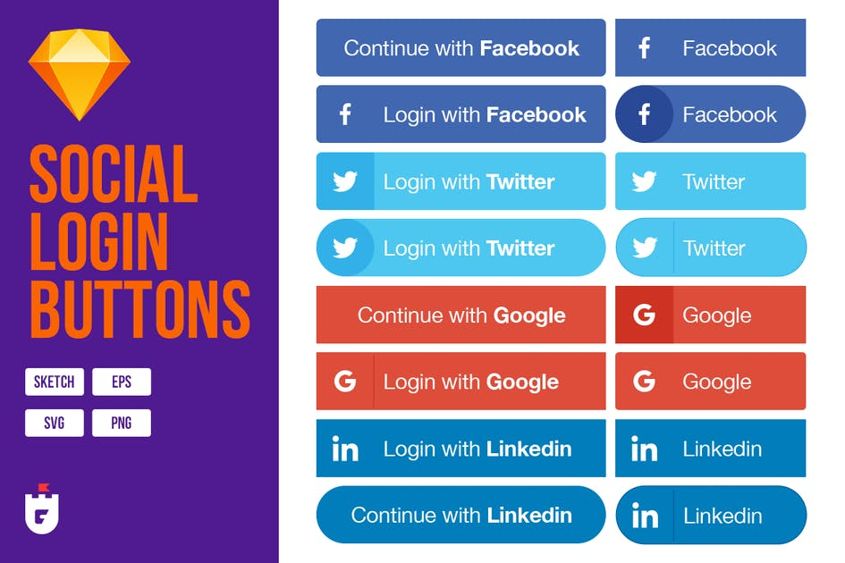Download Social Login Buttons for Sketch by CreativesCastle