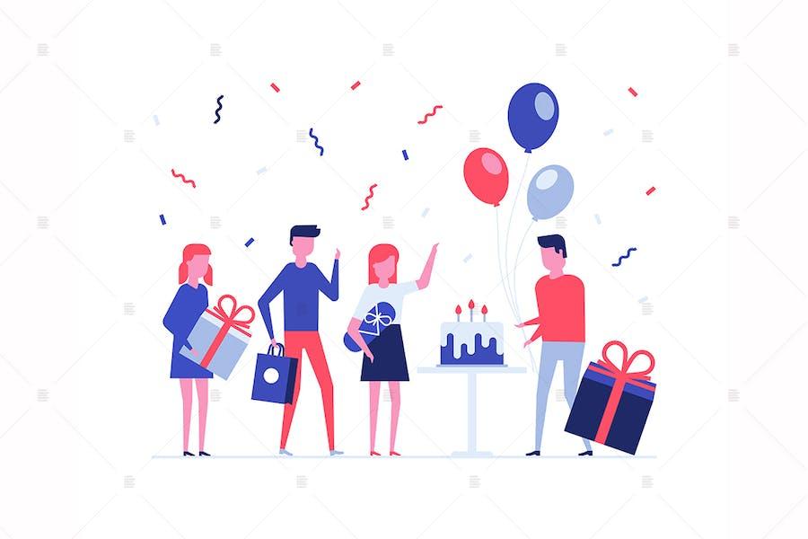 Children birthday party flat illustration