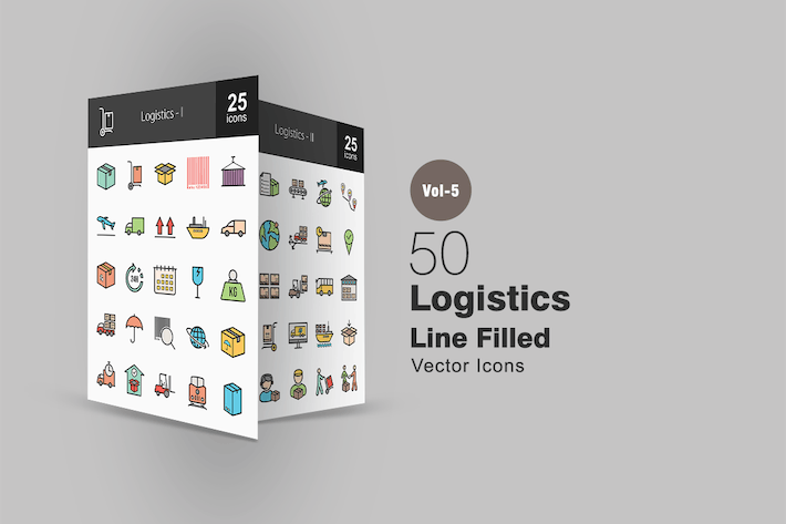 50 Logistics Line Filled Icons