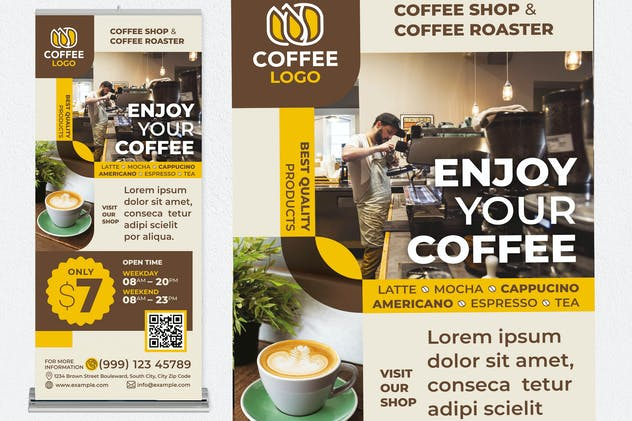 Enjoy Your Coffee Roll Up Banner