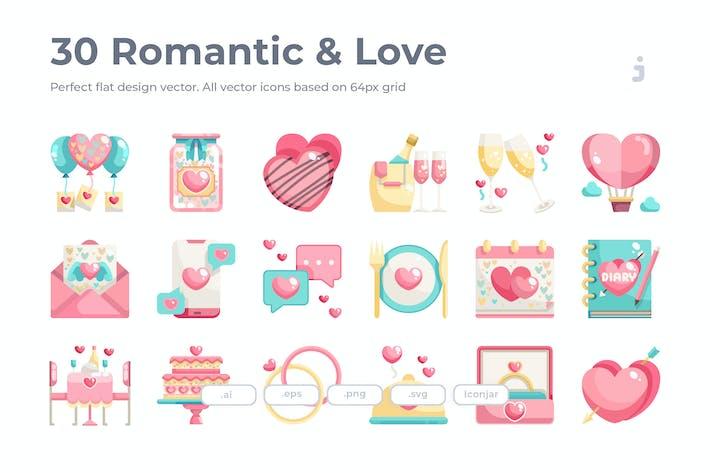 Thumbnail for 30 Romantic & Love Icons - Flat