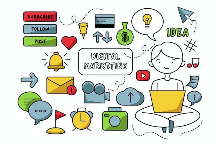 Thumbnail for Digital Marketing Doodle Illustration