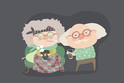 Grandfather giving his care to sick grandmother