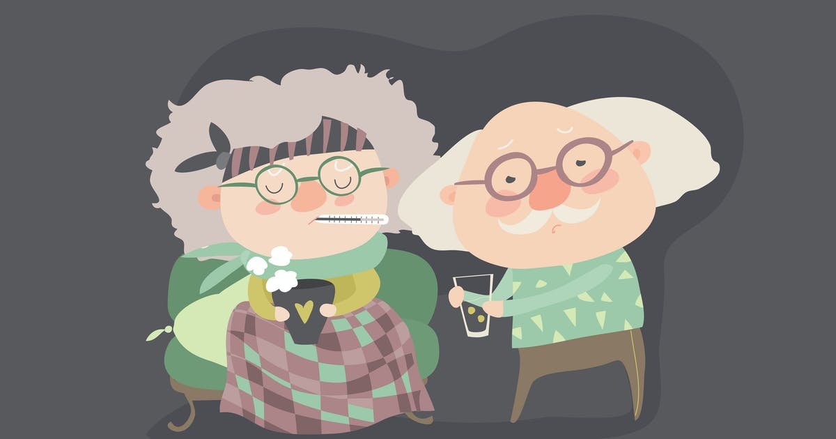 Download Grandfather giving his care to sick grandmother by masastarus