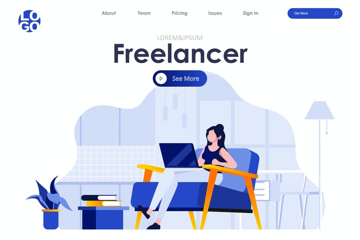 Thumbnail for Freelance Landing Page Flat Concept