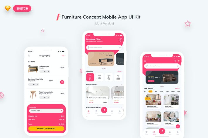 Thumbnail for Furniture App UI Kit Light Version (SKETCH)