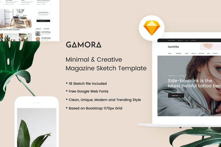 Thumbnail for GAMORA - Creative Magazine Sketch Template