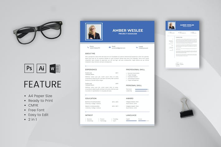 Thumbnail for Professional CV And Resume Template Amber Weslee
