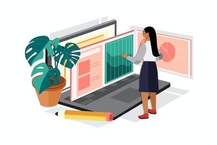 Female Accountant Working On Laptop