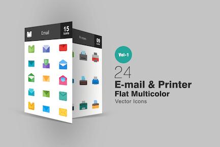 26 Íconos multicolores planos de Correo electrónico e impresora