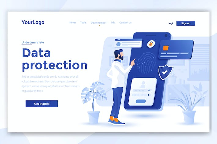 Thumbnail for Flat design template - Data Protection