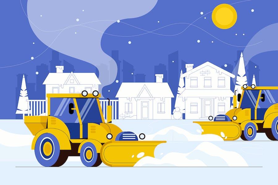 Snow Plow Trucks - Vector Illustration
