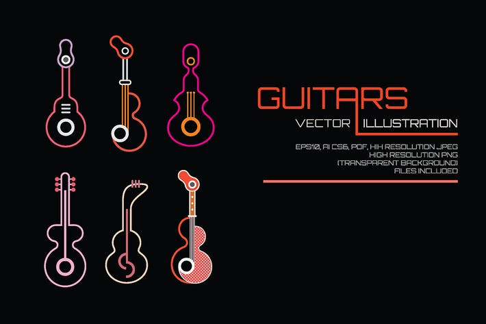 Thumbnail for Neon Guitars vector illustration