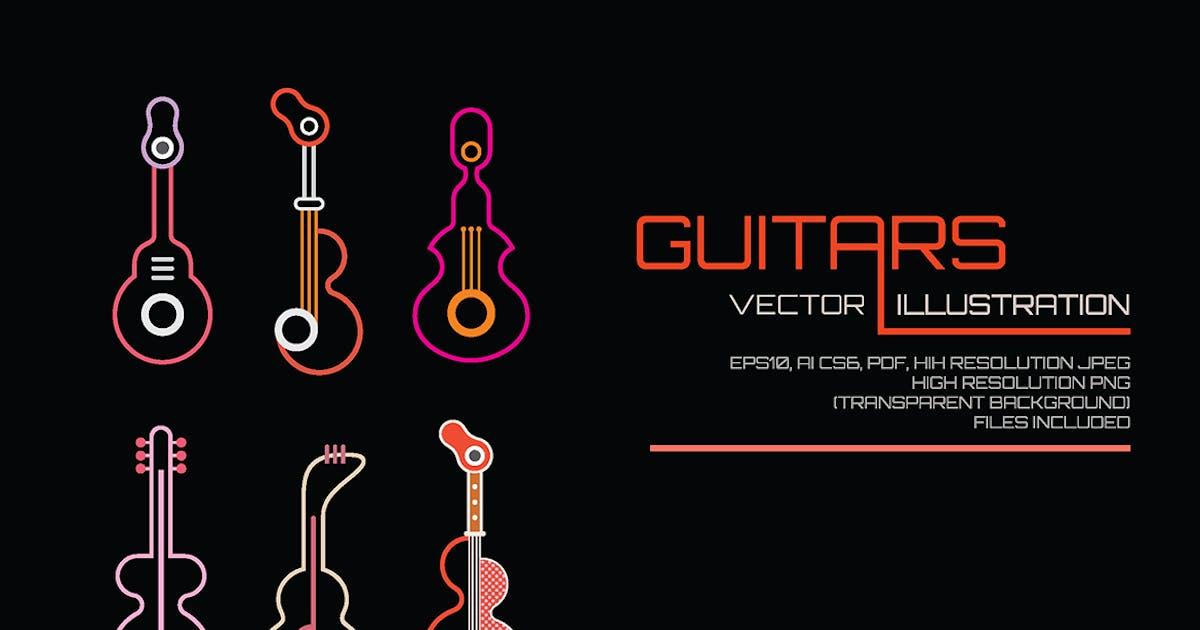 Download Neon Guitars vector illustration by danjazzia