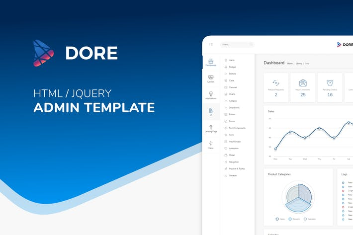 Dore Html Jquery Admin Template Landing Page By