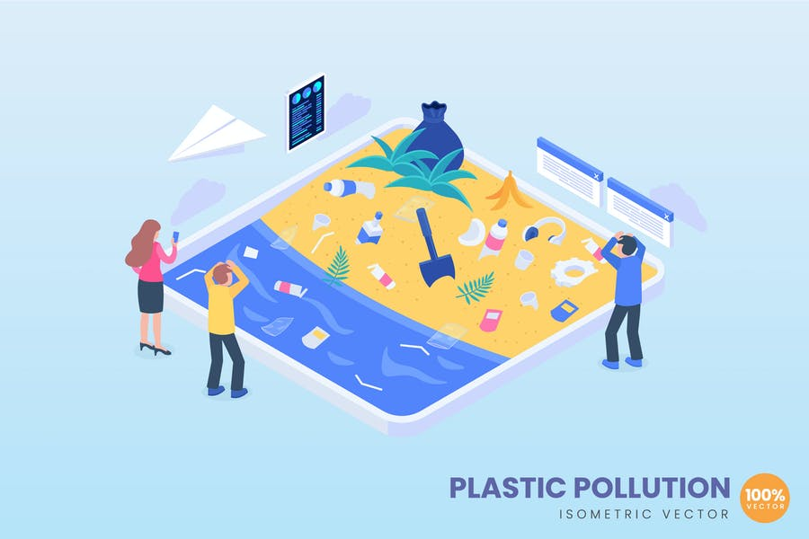 isometric Plastic Pollution Concept