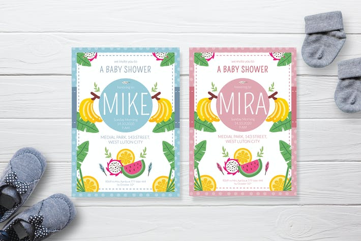 Thumbnail for Colorful Fruits Garden - Baby Shower Invitation