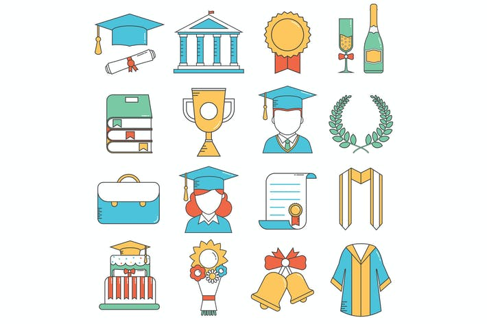 Thumbnail for Graduation Thin Line Vector Icons