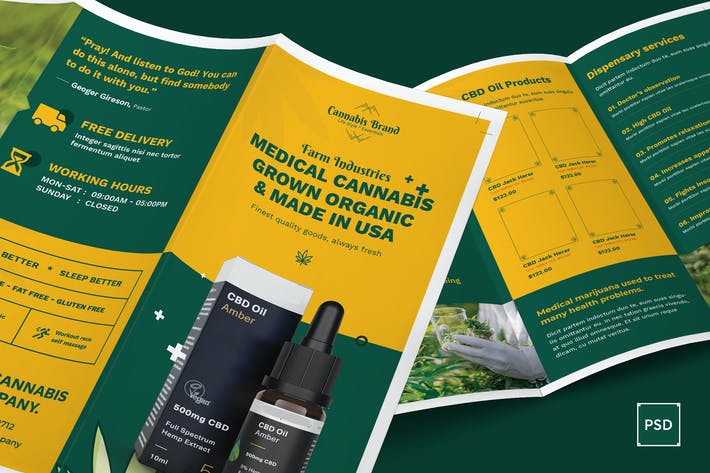 Thumbnail for Cannabis Hemp Oil Products Trifold PSD Template