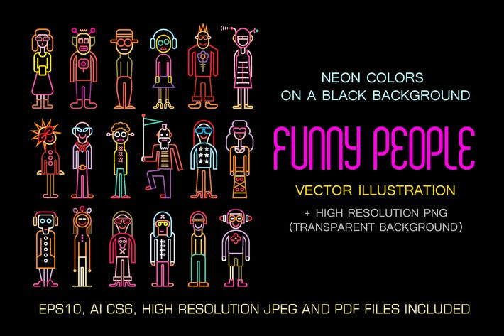 Thumbnail for Neon colors Funny People vector illustration