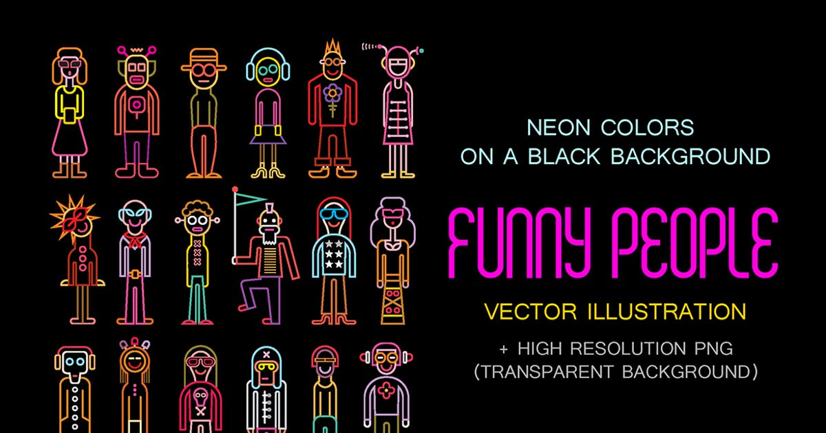 Download Neon colors Funny People vector illustration by danjazzia