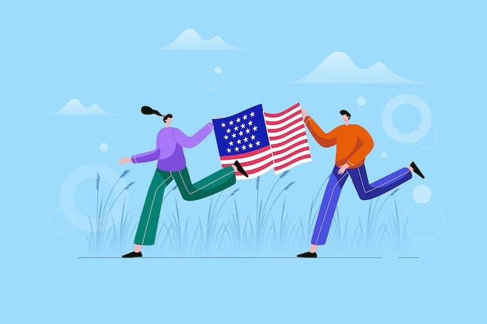 Thumbnail for Glückliches junges Paar mit amerikanischer Flagge