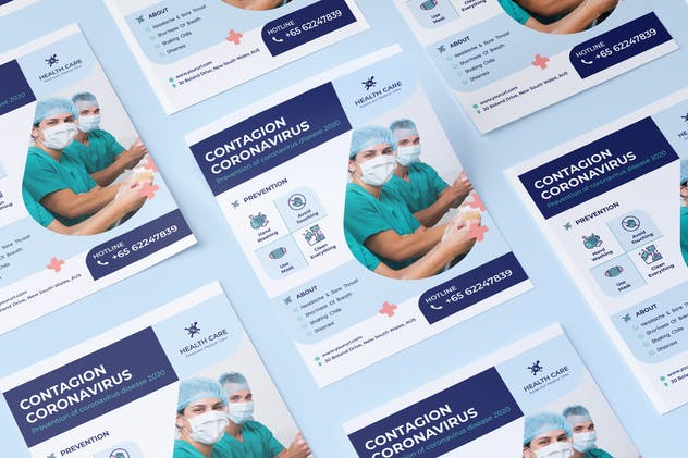Coronavirus medical flyer PSD Template