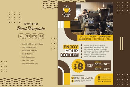 Coffee Shop #01 Poster Print Template