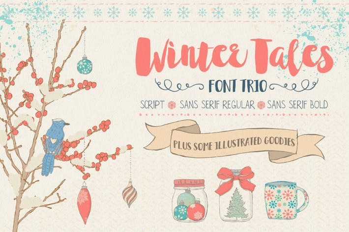 Thumbnail for Winter Tales Font Trio + extras