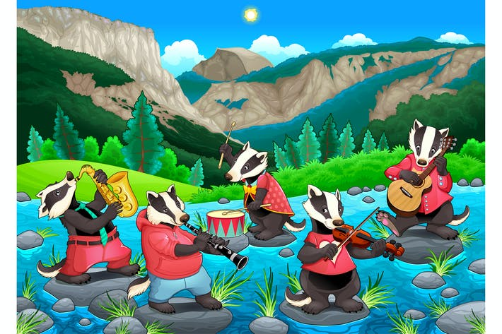 Thumbnail for Group of Funny Badgers are Playing Music