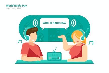 Weltradio-Tag - Vektor Illustration