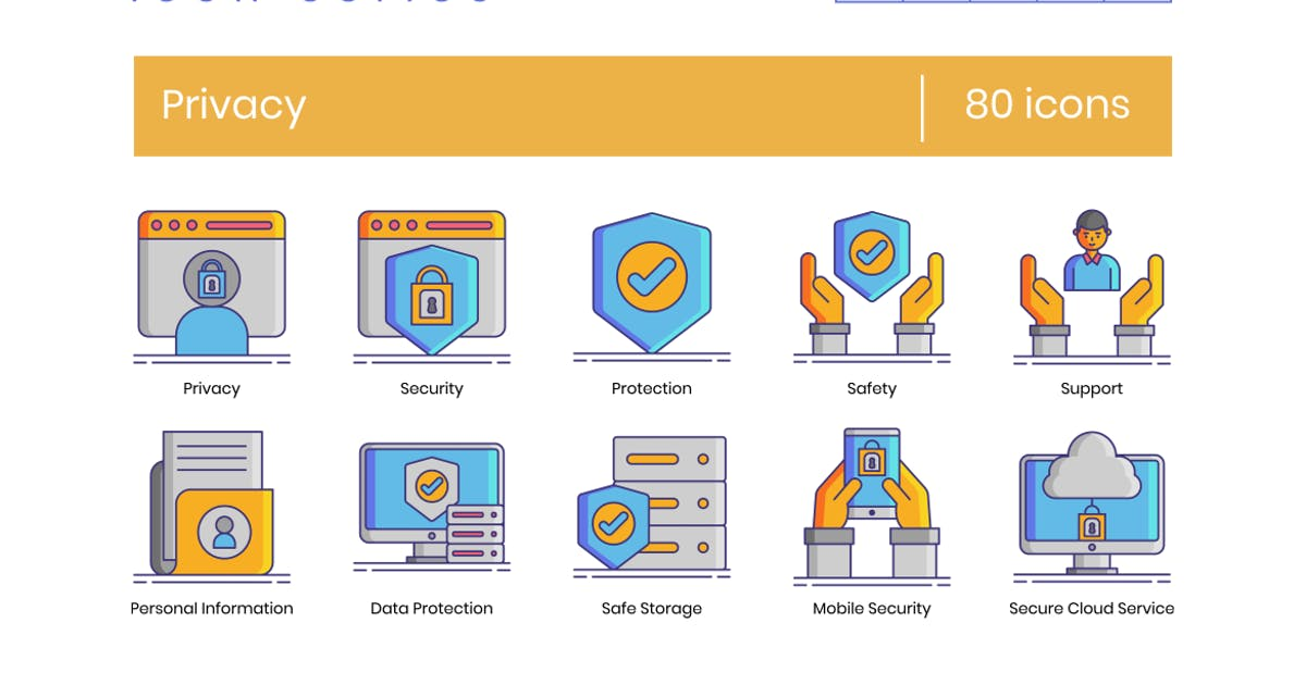 Download 80 Privacy Icons - Dazzle Series by Krafted