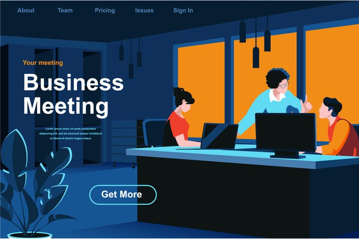 Thumbnail for Business Meeting Isometric Web Page Flat Concept