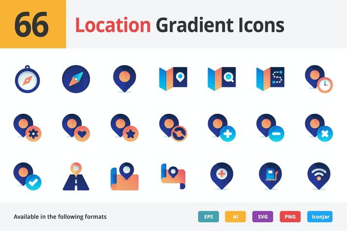 Thumbnail for Maps and Locations Vector Gradient Icons