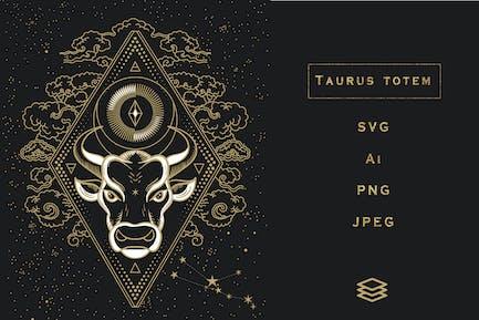 Taurus Totem. SVG, Ai, PNG, Jpeg