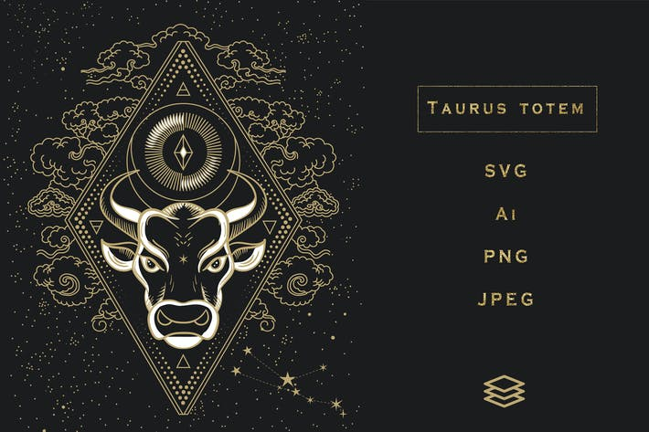 Stier-Totem. SVG, Ai, PNG, JPEG