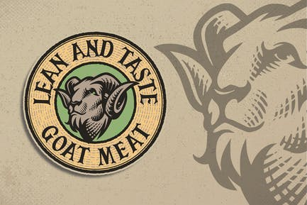Goat Meat Engraving Logo Template