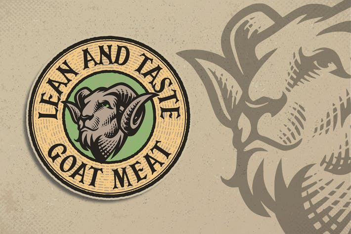 Thumbnail for Goat Meat Engraving Logo Template